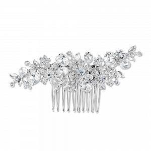 Daisy Swarovski Crystal Silver Plated Bridal Comb