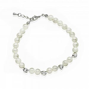 Freshwater Pearl & Diamante Bridal Bracelet - Betsy