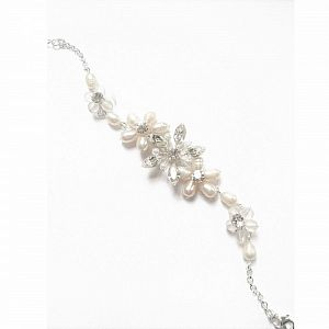Freshwater Pearl & Diamante Bridal Bracelet - Juliette
