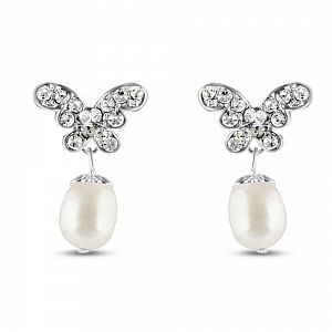 Papillon Freshwater Pearl & Crystal Earrings