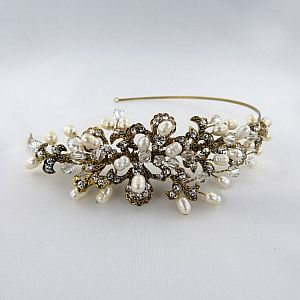 Kensington Antique Gold Side Tiara
