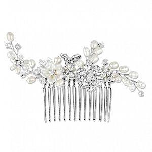 Papillon Freshwater Pearl & Crystal Bridal Comb