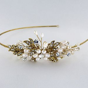 Paris Gold Pearl & Diamante Side Tiara