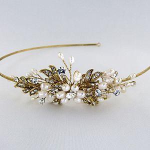 Paris Gold Pearl & Diamante Side Tiara