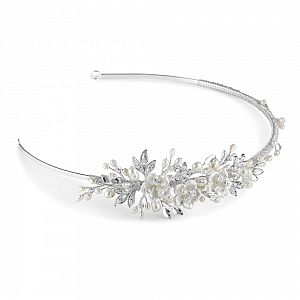 Petal Freshwater Pearl & Crystal Wedding Side Tiara