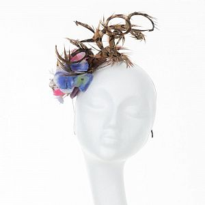 Handmade Spiral Feather Fascinator - Blue & Pink