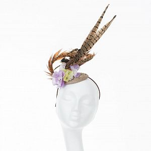 Tall Feather Fascinator - Lilac & Lemon