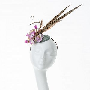 Tall Feather Fascinator - Pink & Green