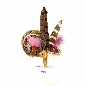 Feather Pin / Brooch - Natural & Pink