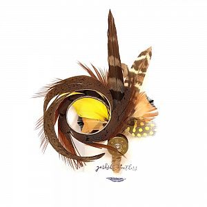 Feather Pin / Brooch - Natural & Yellow