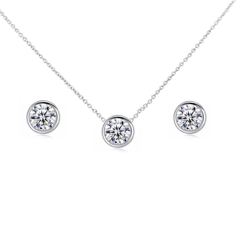Solitaire Pendant Jewellery Set, Occasion Jewellery