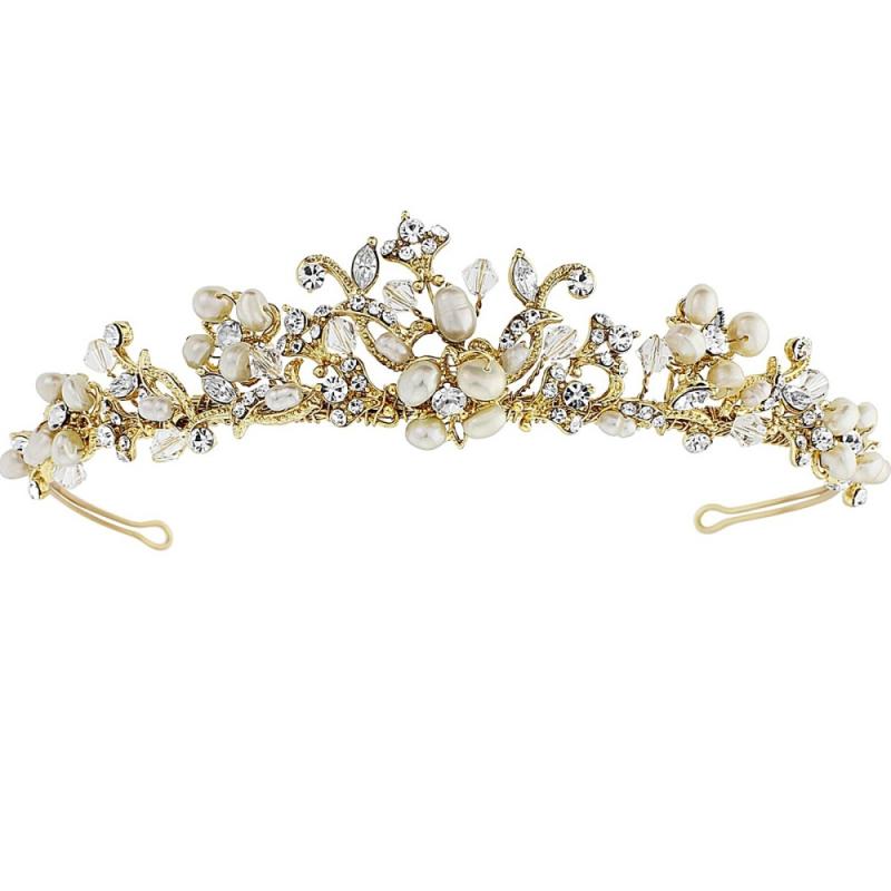 Serina Freshwater Pearl & Swarovski Crystal Tiara - 14K Gold Plated, Tiaras