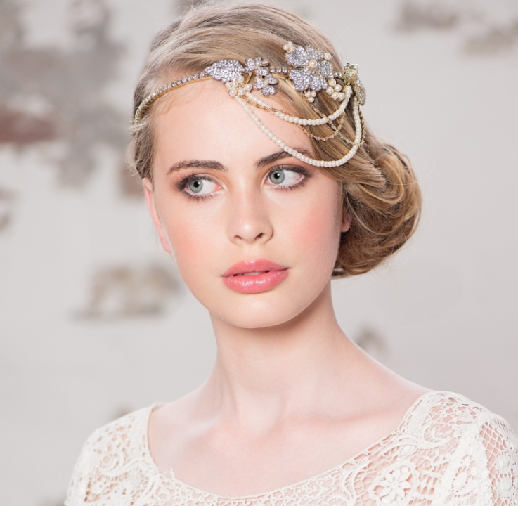 Bejewelled Statement Gold Plated Brow Band, Bridal Hair Accessories