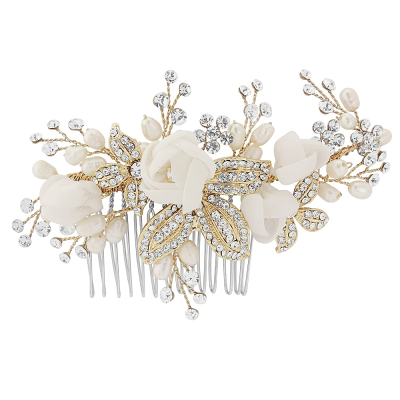 Freya Luxe Bridal Comb - Gold, Bridal Hair Accessories