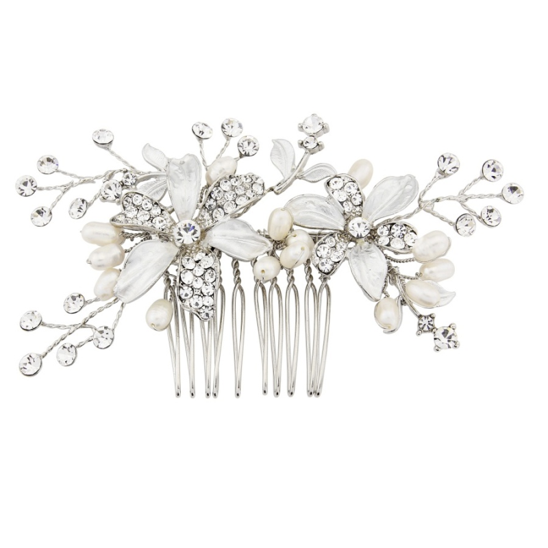 Floral Bridal Comb, Bridal Hair Accessories