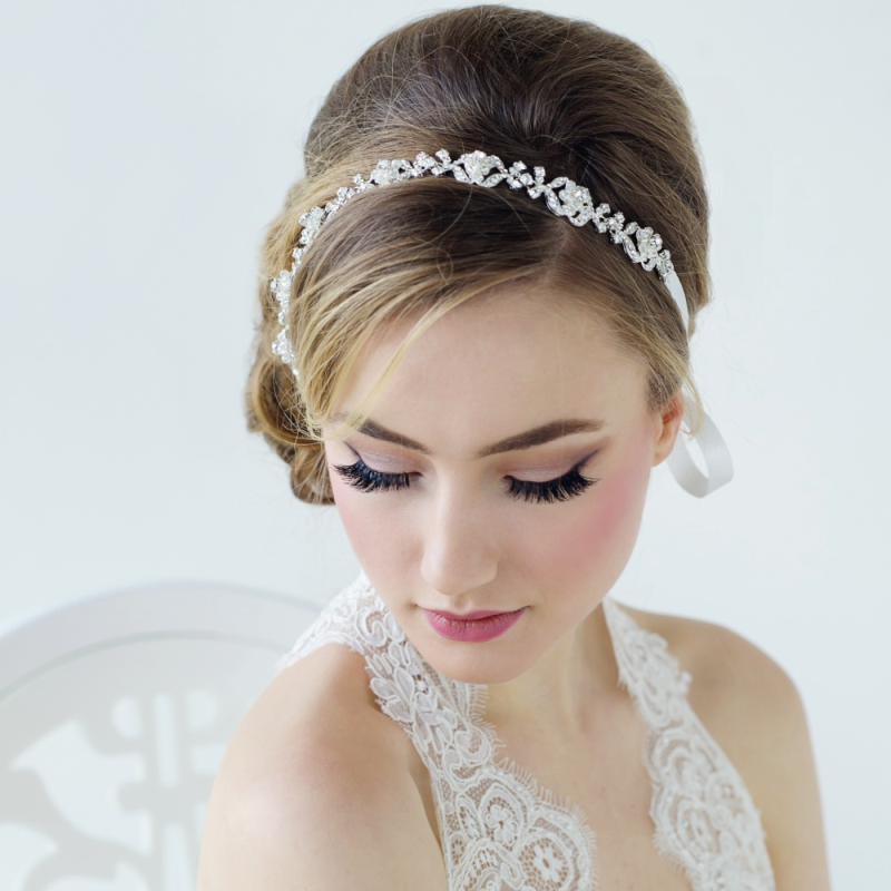Luxury Crystal & Freshwater Pearl Silver Plated Hair Vine, Bridal Hair Accessories