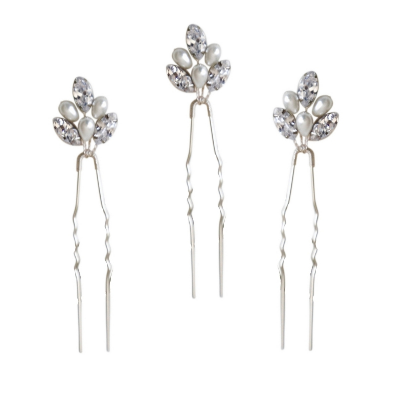 Pearl & Crystal Bridal Hair Pins - Set of 3, Bridal Hair Accessories