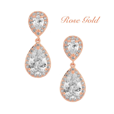 Cubic Zirconia Chic Crystal Earrings - Rose Gold, Jewellery