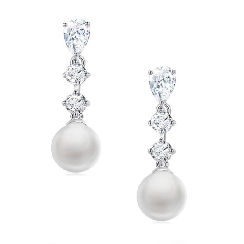 Pearl & Diamante Drop Earrings, Jewellery