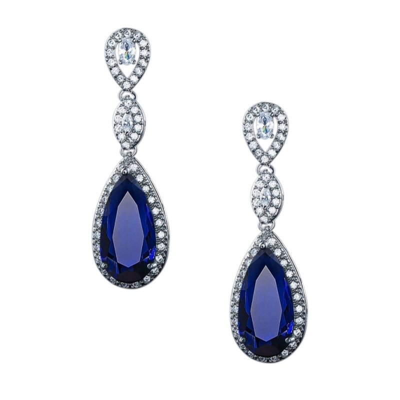 Sapphire Blue Teardrop Crystal Earrings, Jewellery