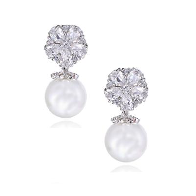 Cubic Zirconia Pearl Shimmer Earrings, Jewellery