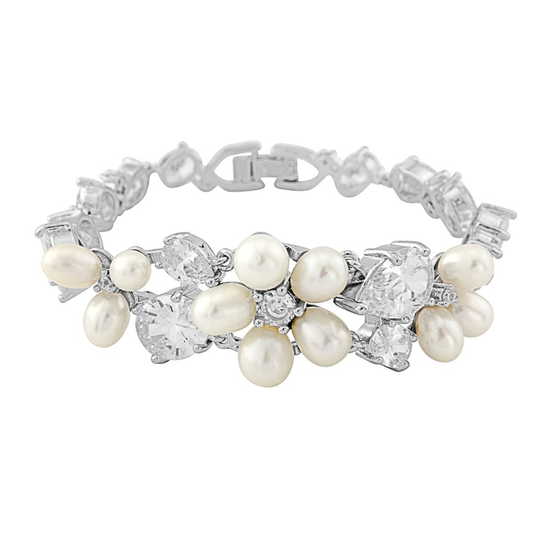 Freshwater Pearl & Crystal Wedding Bracelet, Jewellery