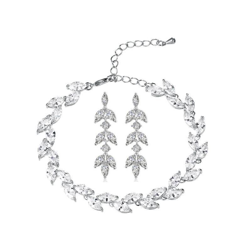 Crystal Bridal Bracelet & Earrings Set, Jewellery