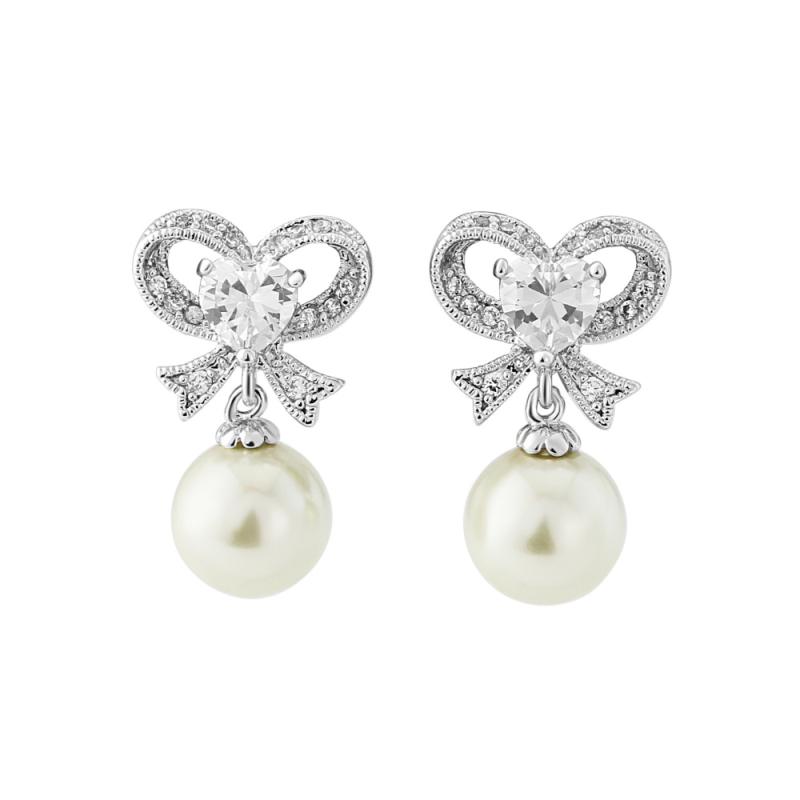 Eternal Pearl Bow Earrings - Silver, Jewellery