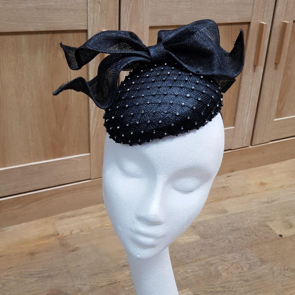 Black Diamante Pillbox Style Hat, Ladies Hats