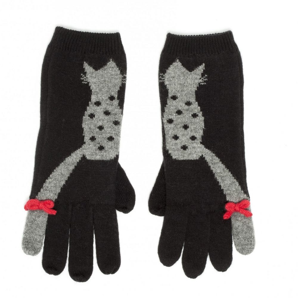 Flossy Cat Knitted Gloves - Black, Accessories