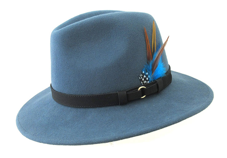Wool Felt Ranger Fedora - Airforce Blue, Men's Hats