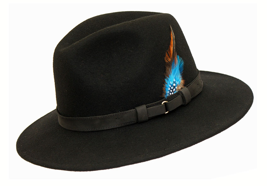 Wool Felt Ranger Fedora - Black, Men's Hats