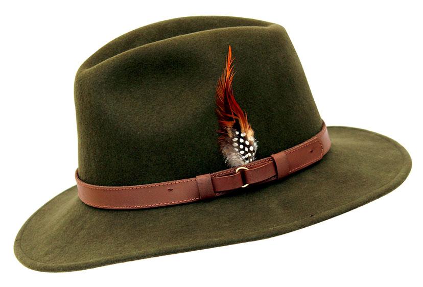 Wool Felt Ranger Fedora - Green, Men's Hats