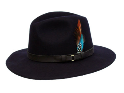 Wool Felt Ranger Fedora - Navy, Men's Hats