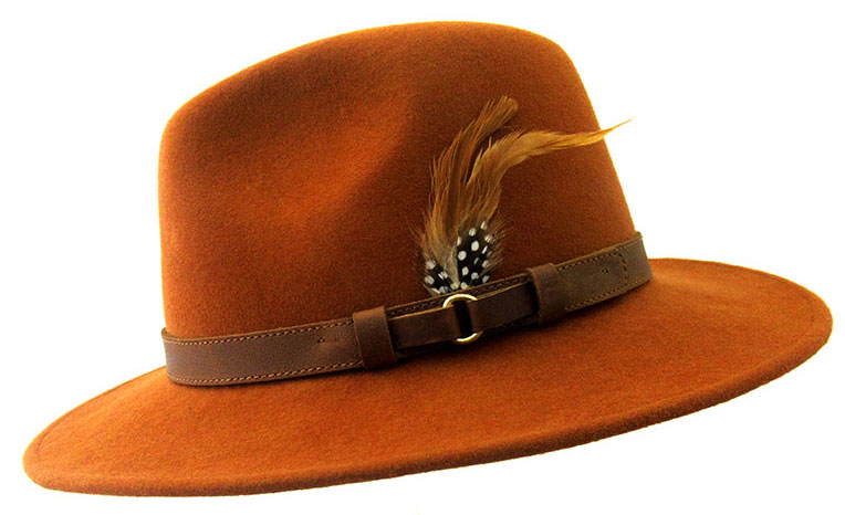 Wool Felt Ranger Fedora - Rust, Men's Hats
