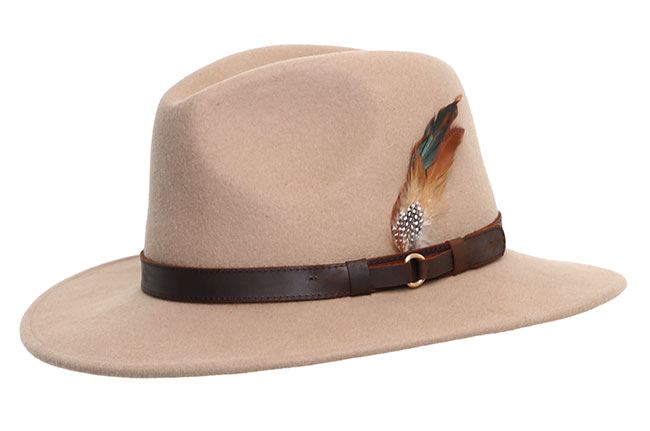 Wool Felt Ranger Fedora - Beige, Men's Hats