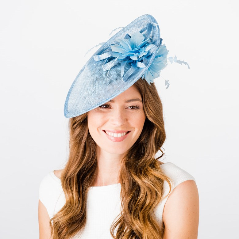 Sinamay Disc with Over & Under Brim Feather Flowers - Pale Blue, Ladies Hats