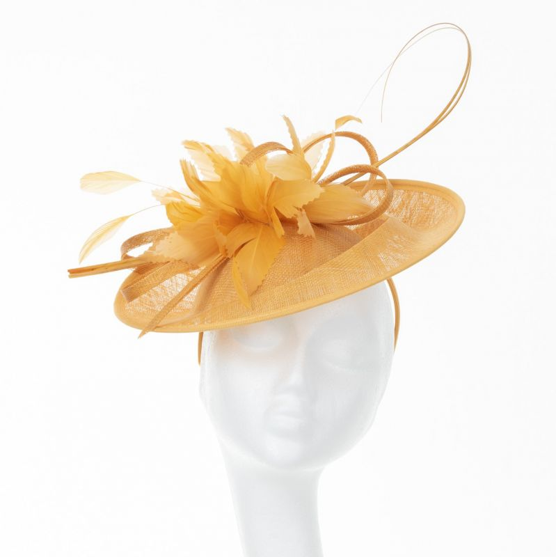 Sinamay Disc with Quills - Mustard, Ladies Hats