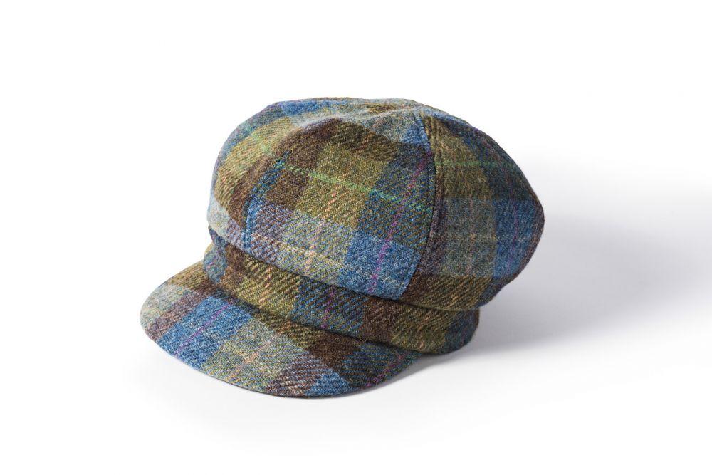 Ladies Harris Tweed Bakerboy Cap - Blue/Green, Ladies Hats