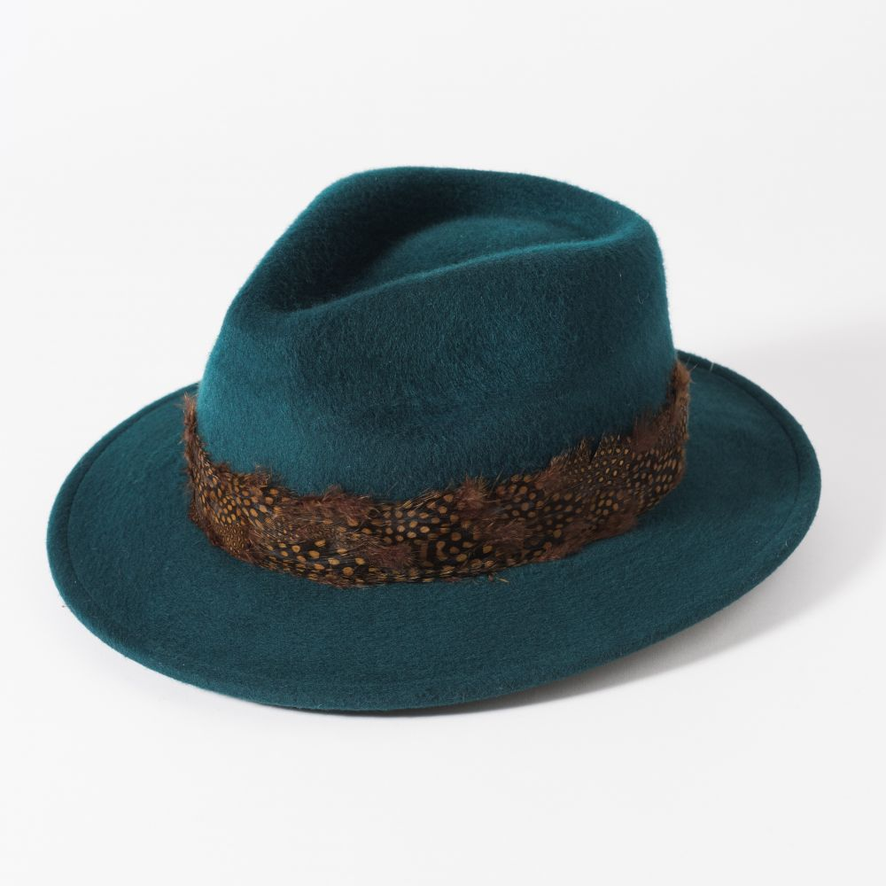 Failsworth Ladies Wool Fedora with Feather Band - Teal, Ladies Hats
