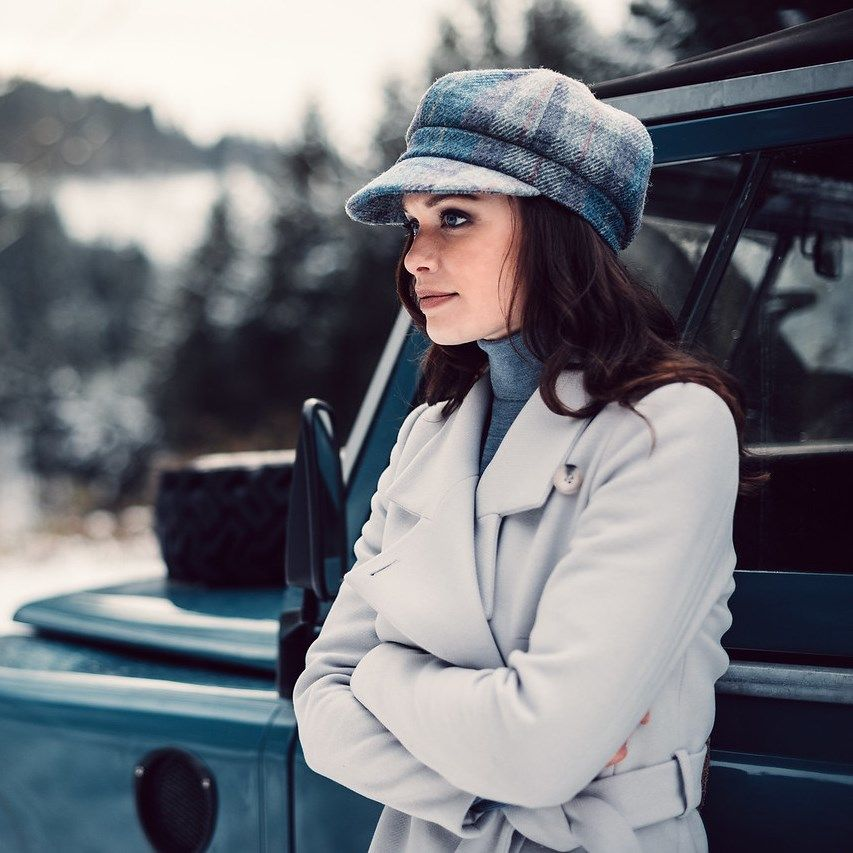 Ladies Harris Tweed Bakerboy Cap - Pale Blue, Ladies Hats