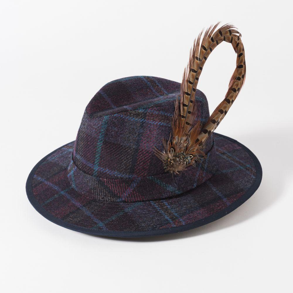 Failsworth Ladies Tweed Fedora with Large Feather, Ladies Hats