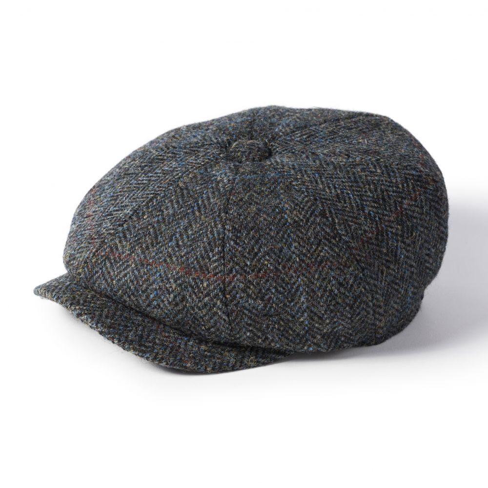 Harris Tweed Carloway Cap - Grey/Blue Mix, Men's Hats