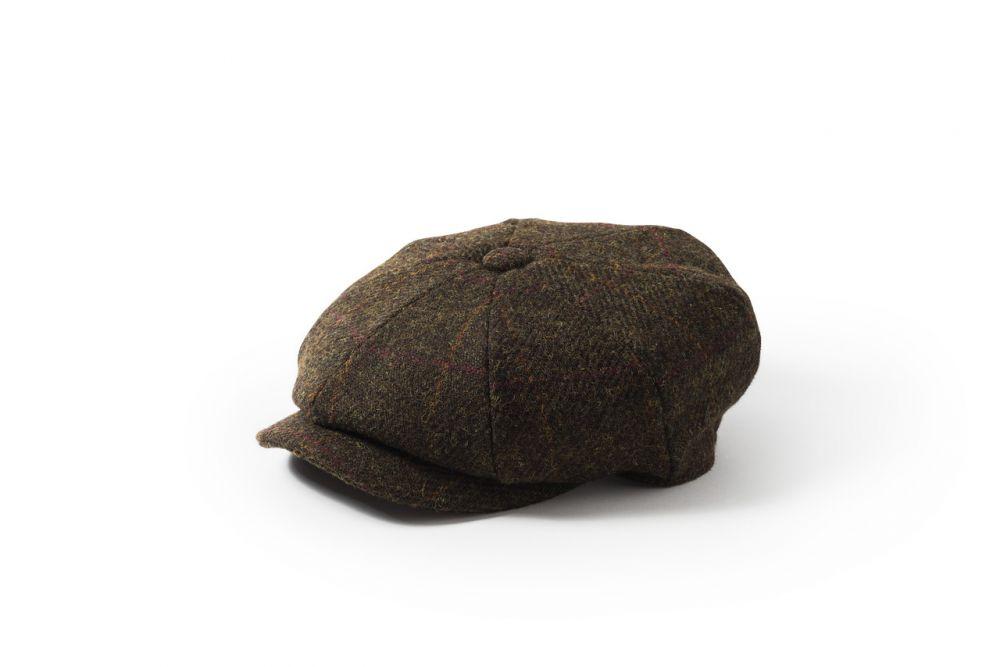 Harris Tweed Carloway Cap - Olive, Men's Hats