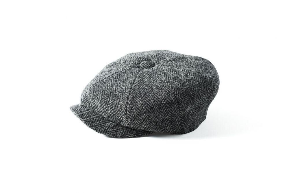 Harris Tweed Carloway Cap - Grey/Black Mix, Men's Hats