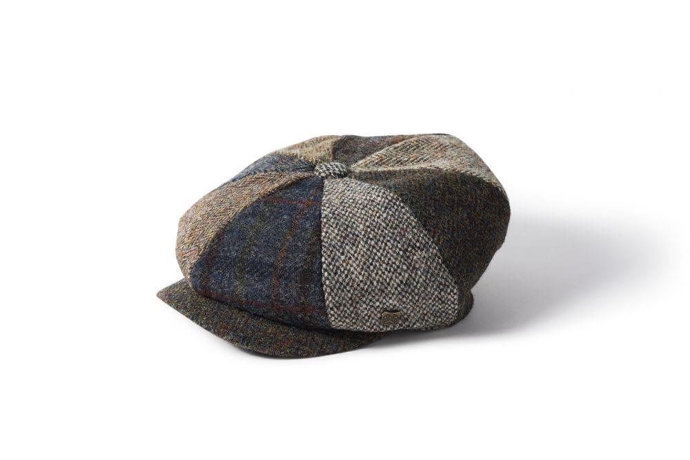 Harris Tweed Lewis 8 Piece Cap - Multi Mix, Men's Hats