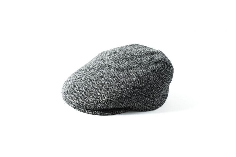 Harris Tweed Stornoway Cap - Grey/Black, Men's Hats
