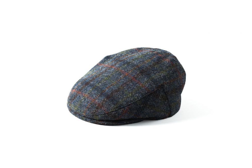 Harris Tweed Stornoway Flat Cap - Blue Check, Men's Hats