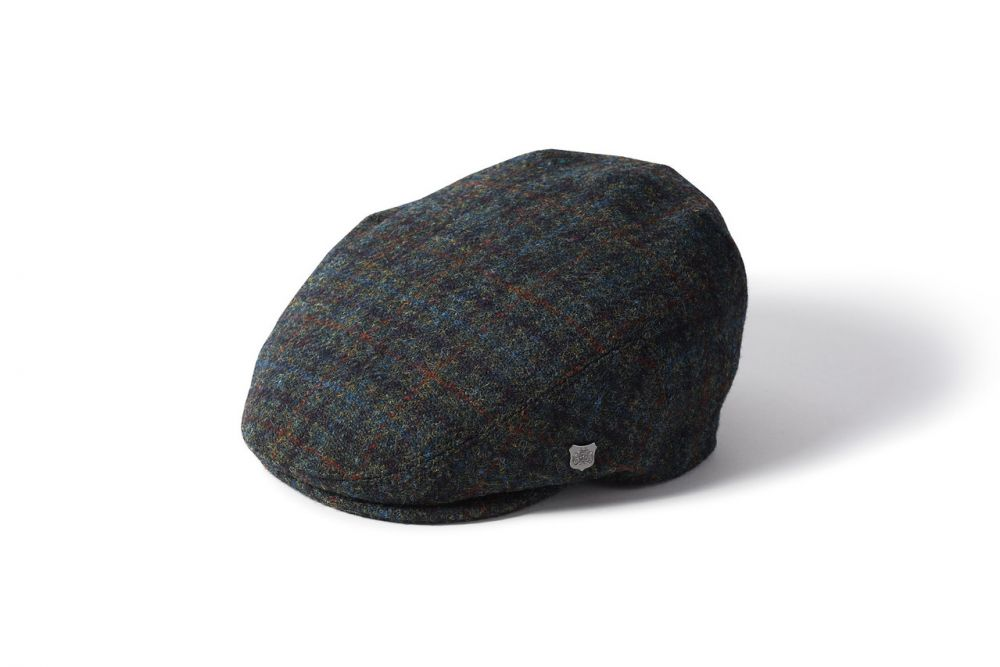 Harris Tweed Stornoway Flat Cap - Blue/Green, Men's Hats