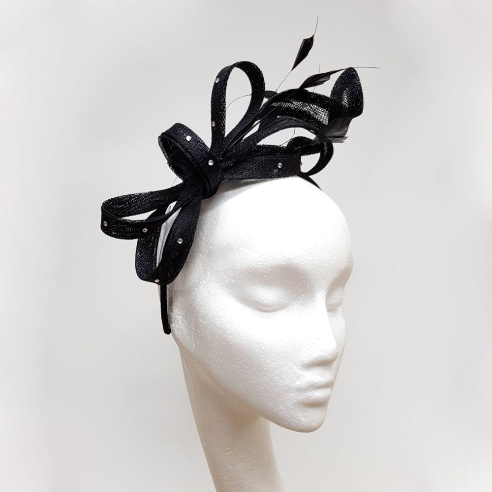 Black Fascinator on Headband, Fascinators
